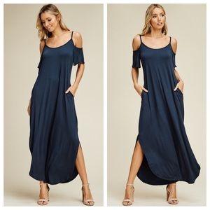 Slate Cold Shoulder Slit Maxi Dress